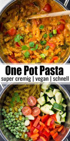 Vegan One Pot Pasta Super creamy and delicious recipe for One Pot Pasta! - Vegan One Pot Pasta Super creamy and delicious recipe for One Pot Pasta! The recipe is vegan, super - # Easy Vegan Dinner, Vegan Dinner Recipes, Vegan Dinners, Vegetarian Recipes, Healthy Recipes, Weeknight Dinners, Vegan Vegetarian, Easy Pasta Recipes, Easy Meals