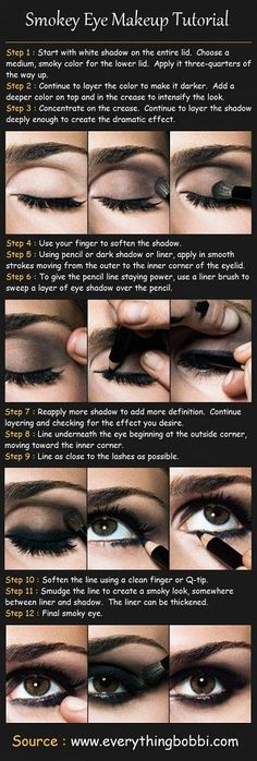 smokey eye step by step, i would do this but not with as dark of colors!