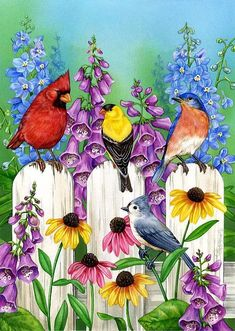 Colorful Garden by Jane Maday Decoupage, Cardinal Birds, All Birds, Colorful Garden, Pictures To Paint, Bird Art, Bird Feathers, Beautiful Birds, Blue Bird