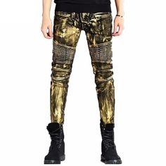 High Quality Men Biker Jeans Pants Gold Silver Coated Brand Designer Motorcycle Denim Trousers Slim Fit Pleated Jogger Dystopian Fashion, Cyberpunk Fashion, Biker Jeans, Jeans Pants, Warrior Fashion, Badass Outfit, Badass Aesthetic, Slim Fit Trousers, Fashion Outfits
