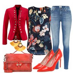 Party Outfits: LaFiesta bei FrauenOutfits.de #fashion #fashionista #damenmode #frauenmode #mode #outfit #damenoutfit #frauenoutfit #inspiration #kleidung #anlass #bekleidung #casual #elegant #blazer #rot #spitz #highheels #party #jeans