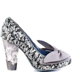Sparkle all night in the No Place Like Home by Irregular Choice.  This simple silhouette brings you a glitzy sequin silver upper with a big fab bow placed at the vamp.  A clear Perspex heel gives you 3 3/4 inches of height.