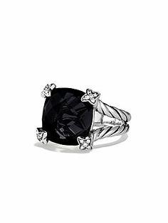 David Yurman Cushion on Point Ring with Black Onyx and Diamonds