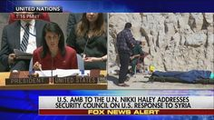 """""""The world is waiting for the Russian government to act responsibly in Syria...The United States will no longer wait for Assad to use chemical weapons without any consequences. Those days are over.""""   Moments ago, U.N. Ambassador Nikki Haley publicly called out Russia and stated her support for President Donald J. Trump's decision to authorize airstrikes in Syria. http://fxn.ws/2njJVtA"""