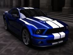 Brilliant blue with white. Saleen Mustang, Blue Mustang, Ford Mustang Shelby Cobra, Sexy Cars, Hot Cars, My Dream Car, Dream Cars, 2013 Shelby Gt500, Good Looking Cars