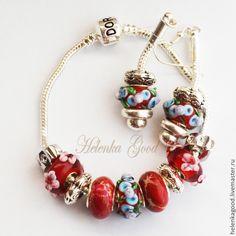 Купить Браслет евро шарм с серёжками Цветочный красный 202 - ярко-красный, браслет женский