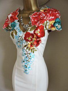 Size 12 Karen Millen Floral Shift Short Mini Dress Ivory