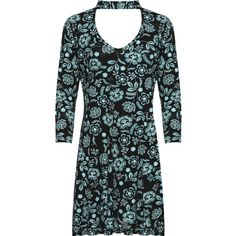 Joanne Floral Print Choker V-Neck Swing Dress ($30) ❤ liked on Polyvore featuring dresses, plus size, turquoise, plus size trapeze dress, floral print dress, floral knee length dress, tent dresses and v neck dress