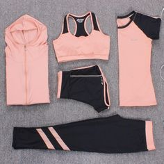 Cheap yoga suit, Buy Quality yoga suits women directly from China yoga yoga Suppliers: New Yoga Suits Women Gym Clothes Fitness Running Tracksuit Sports Bra+Sport Leggings+Yoga Shorts+Top 5 Piece Set Plus Size Yoga Outfits, Womens Workout Outfits, Sporty Outfits, Athletic Outfits, Fashion Outfits, Style Fashion, Athletic Clothes, Fitness Outfits, Athletic Wear