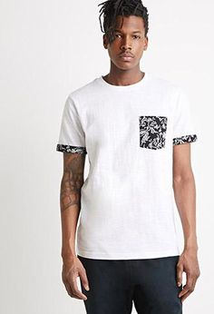 Bandana-Print Pocket Tee White/Black Medium