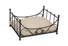Cute little bed for you pets! Iron Dog Bed with Ticking Cushion