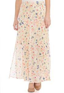 Pleated Floral Maxi Skirt-Plus