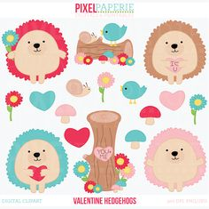 Valentine Hedgehogs Digital Clipart