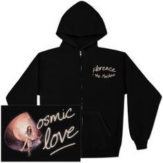 Black full-zip hoodie featuring a script Florence and The Machine logo on left chest and Cosmic Love design on the back.  Dual front pockets and drawstring hood