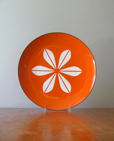 Excellent Large Cathrineholm Lotus Plate - Orange / White