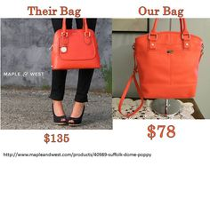 Our Paris in Coral Kisses as compared to a competitor. One of Jewell's more popular handbags...love this color! www.mythirtyone.com/jessicaensing