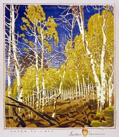Aspen Thicket  by Gustave Baumann. Woodcut