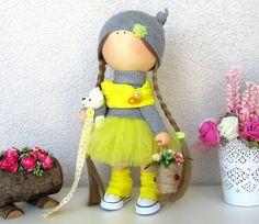 Annie Doll-Handmade Doll-Fabric Doll-Rag Doll-Textile Doll-Handmade Doll-Home Decoration Doll-Interior Doll-Cloth Doll-Plush Bear Cloth Doll