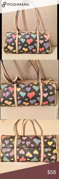 "Dooney & Bourke Purse Cute D&B Hearts 💚💛❤️💙💜Shoulder Purse 👛 W/ colorful zipper too! Measurements 11"" inches across & 5"" inches down strap drop 9"" inches approximately! 💙💚💛❤️💜Preowned Dooney & Bourke Bags"