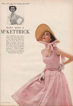 1952 McKettrick Williams Pink Shepherdess Dress-1950s Walter Florell Hat Ad