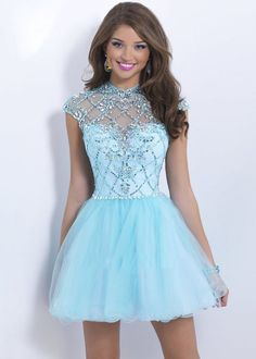 Blush Open Back Crystal Beaded Sleeves Blue Short Prom Dress