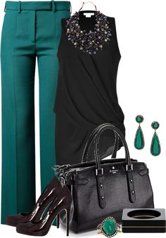 teal pants outfit- love the top and pants Office Outfits, Chic Outfits, Fashion Outfits, Womens Fashion, Teal Outfits, Teal Pants Outfit, Look 2018, Professional Attire, Business Dresses