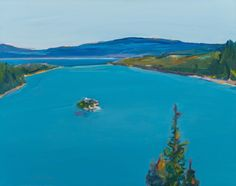 Gregory Kondos (b. 1923), Emerald Bay, Tahoe, 2001.  oil on canvas, 19 3/8 × 24 3/8 inches