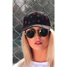 Cats got the Cream Black 90'S Cap With Retro Detail ($34) ❤ liked on Polyvore