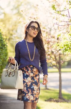 cute & little blog | petite fashion | banana republic metallic pullover blue sweater, navy floral pencil skirt, peach pumps, white bag, debutante necklace | spring work outfit