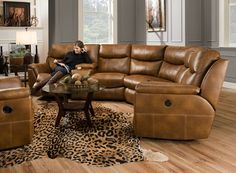 BEAUTIFUL sectional by Southern Motion with recliners and a reclining chaise . Cole's Furniture www.colesfurniturestore.com