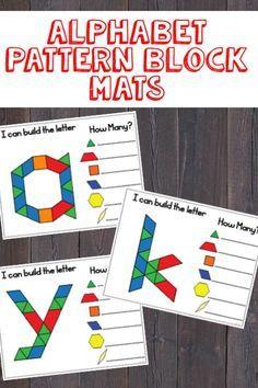 Alphabet Pattern Block Mats (lowercase letters) - Everything About Kindergarten Abc Centers, Kindergarten Centers, Preschool Literacy, Kindergarten Reading, Kindergarten Classroom, Kindergarten Letter Activities, Letter Recognition Kindergarten, Patterning Kindergarten, Kindergarten Counting