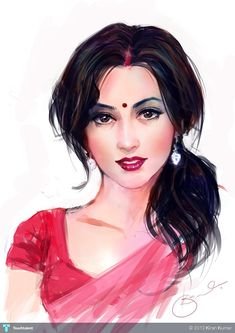 Indian woman - 5 - Creative Art in Digital Art by Kiran Kumar in Portfolio Digit. - Indian woman – 5 – Creative Art in Digital Art by Kiran Kumar in Portfolio Digital Paintings at - Indian Women Painting, Indian Art Paintings, Digital Paintings, Girl Drawing Sketches, Sketch Painting, Art And Illustration, Art Beauté, India Art, Digital Art Girl