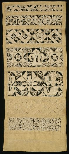 Whitework Sampler ~ 1647 ~ Linen, embroidered with linen, with cutwork, pulled thread work and eyelets ~ V&A