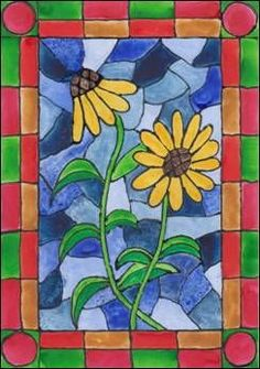 Women S Over 50 Fashion Styles 2015 Stained Glass Patterns Free, Stained Glass Quilt, Landscape Quilts, School Art Projects, Art N Craft, Spring Art, Art Plastique, Elementary Art, Teaching Art