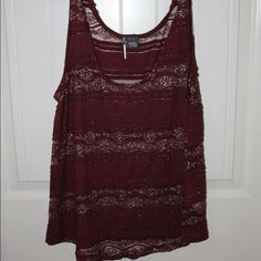 Sparkle & Fade - Maroon Top semi see thru - really pretty top - NOT free people but reminds me of their stuff Free People Tops Tank Tops