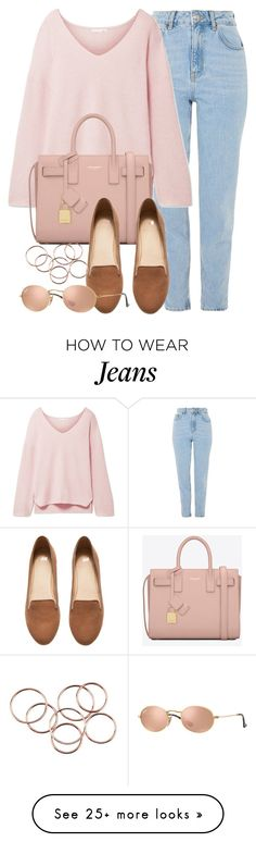 """""""Pink."""" by vany-alvarado on Polyvore featuring Topshop, Skin, Yves Saint Laurent, H&M and Ray-Ban"""
