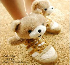 2013  Couple of shoes cute bear shoes teddy cartoon high top sneakers lovers design for women and men casual snow booties tennis $19.99