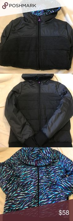 Ivivva reversible jacket Ivivva reversible jacket size kids 14 or adult a-xs. It's been worn twice and is in like new condition. It's grey and black on one side and blue and purple on the other. Quite warm and the Price is flexible Ivivva Jackets & Coats Puffers