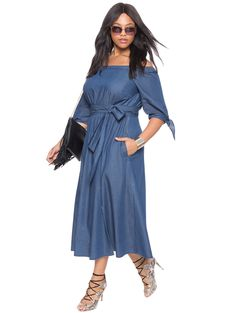 Studio Off the Shoulder Chambray Dress | Women's Plus Size Dresses | ELOQUII
