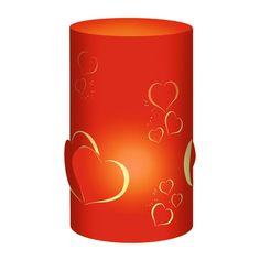 """Tischlichter """"Herzen"""" in romantischem Rot mit Herzen zur Dekoration"""