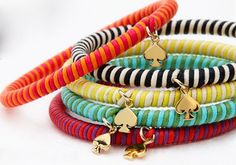 colorful BRACELETS with stripes and golden spade pendants - jewelry - fashion accessories Jewelry Accessories, Fashion Accessories, Kate Spade Bangle, Do It Yourself Jewelry, Up Girl, Girly Girl, Band, Diy Fashion, Jewelry Crafts