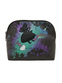 """Fall down the rabbit hole in search of your mascara and you might find yourself holding this <i>Alice In Wonderland</i> makeup bag. The stamp-cut silhouette of Alice tumbles through Wonderland with the words """"My world would be a wonderland"""" printed on the opposite side.<div><ul><li style=""""list-style-position: inside !important; list-style-type: disc !important"""">Approx. 6"""" x 7"""" x 3""""</li><li style=&qu..."""