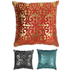 Add a splash of colorful style and plush comfort to your home décor with this throw pillow.  This throw pillow features a striking velvet and foil applique construction in your choice of three colors. Includes removable insert for easy cleaning.