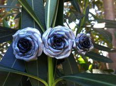 Handcrafted Triple Silver Rose Barrette
