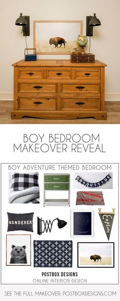 """Grab the FREE """"Shop This Room"""" Guide: Postbox Designs, Interior E-Design: My Adventure Style Boy's Bedroom Makeover/Camping Style Bedroom via Online Interior Design, teen boy bedoom design Cool Kids Bedrooms, Kids Bedroom Designs, Boys Bedroom Decor, Bedroom Ideas, Kid Bedrooms, Media Room Design, Family Room Design, Dining Room Design, Interior Design Help"""