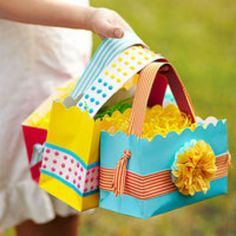 Easter Bag:  What you'll need: Heavyweight gift or shopping bag Scissors (regular or decorative-edged) Hole punch Ribbon Candy dots Carpet or duct tape Glue