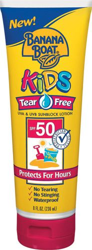 Tear free sunblock is essential for little ones.