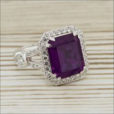 Diamond and Amethyst Ring Custom Bridal Jewelry White Gold Yellow Gold Rose Gold Wedding Set Engagement Ring. $2,200.00, via Etsy.