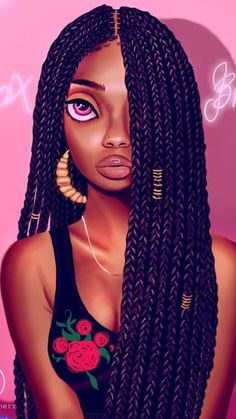 B O X B R A I D S 💕💕 Big S/O to Mervin Kaunda ! I'm slowly getting better at drawing braids thanks to u! I love your work bro!
