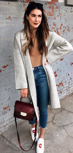 fashionable look grey coat + top + jeans + bag + sneakers